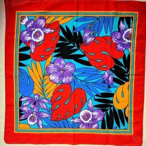 Vintage 80s Hawaiian floral bandana made in USA